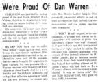 We're Proud of Dan Warren